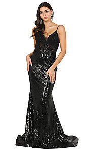 Image of v-neck sequin formal prom dress with sheer bodice. Style: DQ-4066 Detail Image 1