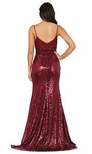 Image of v-neck sequin formal prom dress with sheer bodice. Style: DQ-4066 Back Image