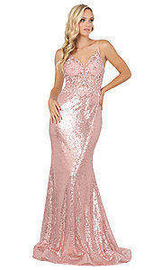 Image of v-neck sequin formal prom dress with sheer bodice. Style: DQ-4066 Detail Image 3
