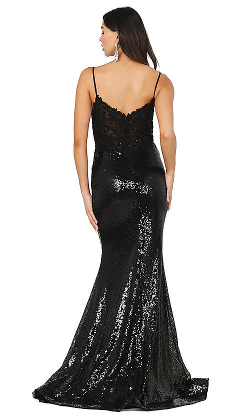 Image of v-neck sequin formal prom dress with sheer bodice. Style: DQ-4066 Detail Image 2