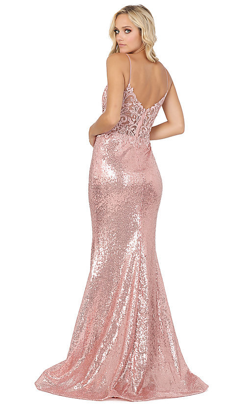 Image of v-neck sequin formal prom dress with sheer bodice. Style: DQ-4066 Detail Image 4