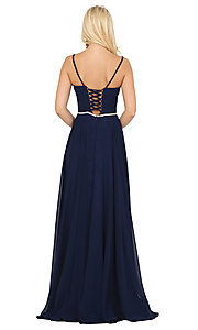 Image of long a-line formal prom dress with beaded waist. Style: DQ-4030 Back Image