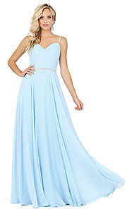 Image of long a-line formal prom dress with beaded waist. Style: DQ-4030 Detail Image 3