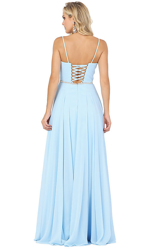 Image of long a-line formal prom dress with beaded waist. Style: DQ-4030 Detail Image 4