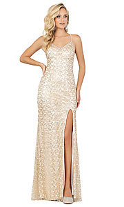 Image of corset-back long sequin sexy formal prom dress. Style: DQ-2898 Front Image