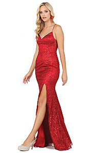 Image of corset-back long sequin sexy formal prom dress. Style: DQ-2898 Detail Image 4