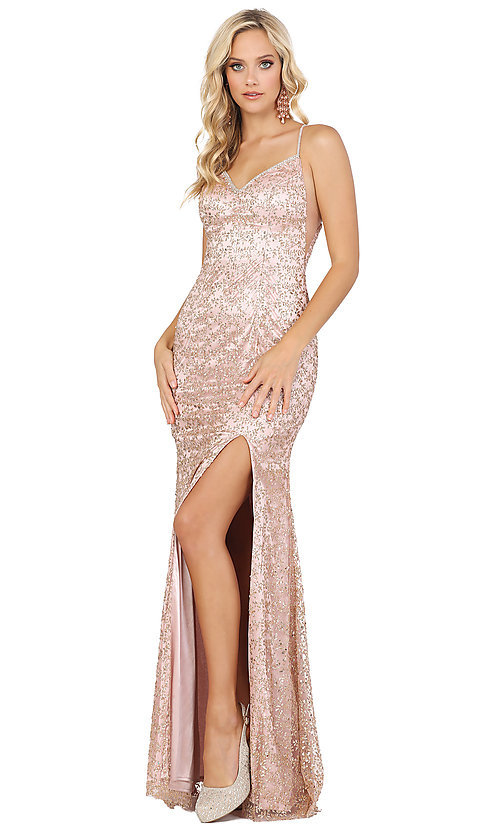Image of corset-back long sequin sexy formal prom dress. Style: DQ-2898 Detail Image 1