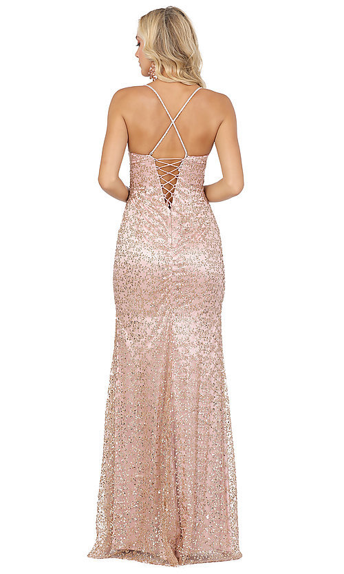 Image of corset-back long sequin sexy formal prom dress. Style: DQ-2898 Detail Image 2