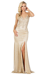 Image of corset-back sexy long sparkly formal prom dress. Style: DQ-2896 Detail Image 1