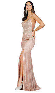 Image of corset-back sexy long sparkly formal prom dress. Style: DQ-2896 Detail Image 3