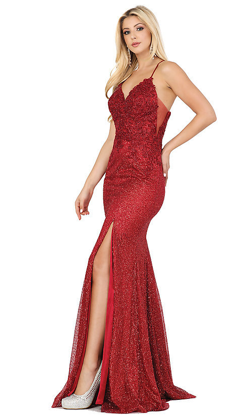 Image of corset-back sexy long sparkly formal prom dress. Style: DQ-2896 Front Image