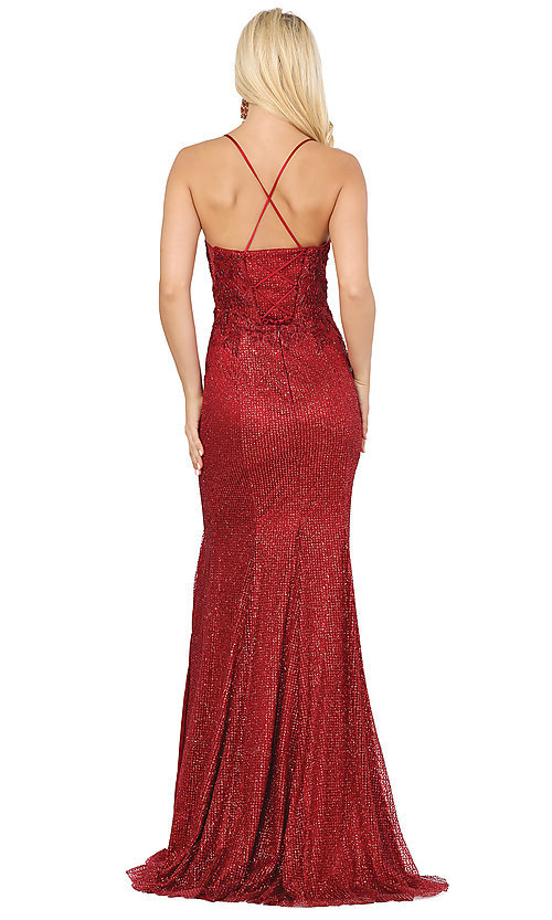 Image of corset-back sexy long sparkly formal prom dress. Style: DQ-2896 Back Image