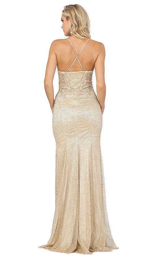 Image of corset-back sexy long sparkly formal prom dress. Style: DQ-2896 Detail Image 2