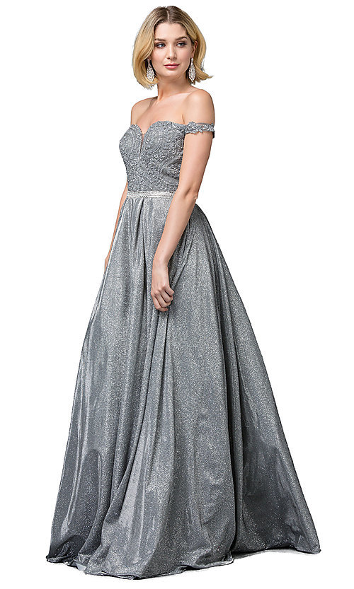 Image of off-the-shoulder glitter long formal prom dress. Style: DQ-2820 Front Image
