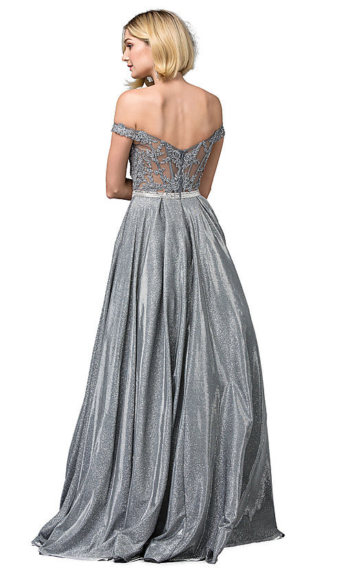 Image of off-the-shoulder glitter long formal prom dress. Style: DQ-2820 Back Image