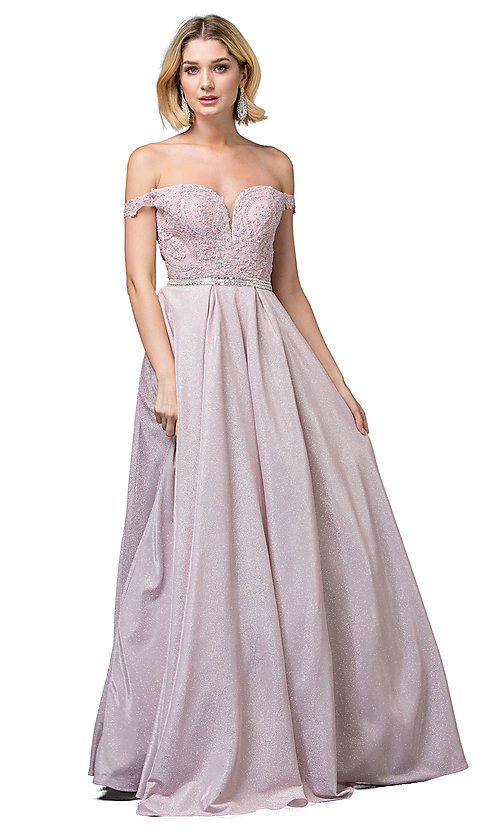 Image of off-the-shoulder glitter long formal prom dress. Style: DQ-2820 Detail Image 1