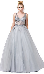 Image of ball-gown-style beaded-bodice formal prom dress. Style: DQ-2816 Detail Image 1