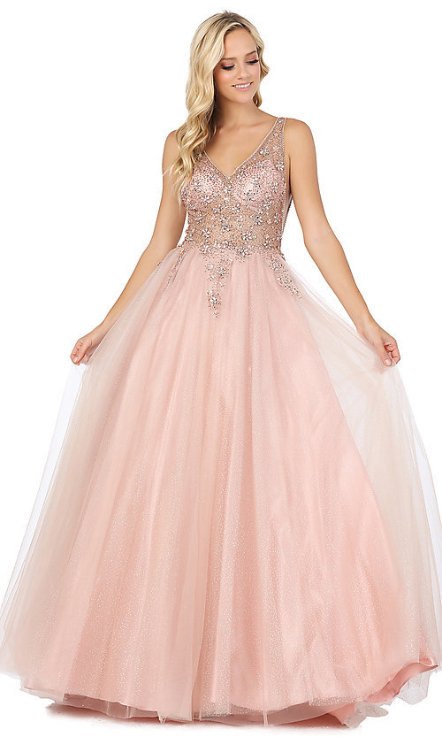 Image of ball-gown-style beaded-bodice formal prom dress. Style: DQ-2816 Front Image