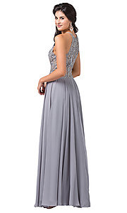 Image of long formal dress with sheer beaded bodice. Style: DQ-2716 Back Image