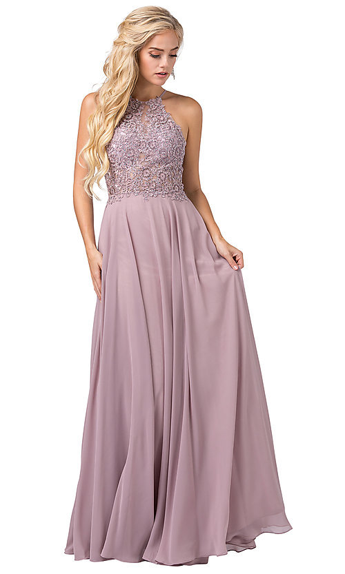 Image of long formal dress with sheer beaded bodice. Style: DQ-2716 Front Image