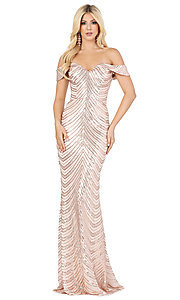 Image of long sequin formal dress with corset-style back. Style: DQ-4109 Detail Image 3