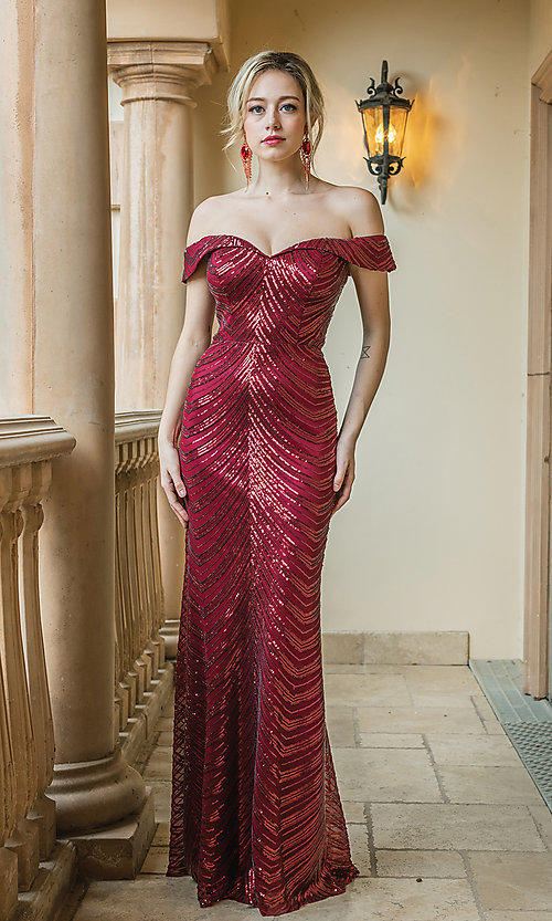 Image of long sequin formal dress with corset-style back. Style: DQ-4109 Detail Image 2