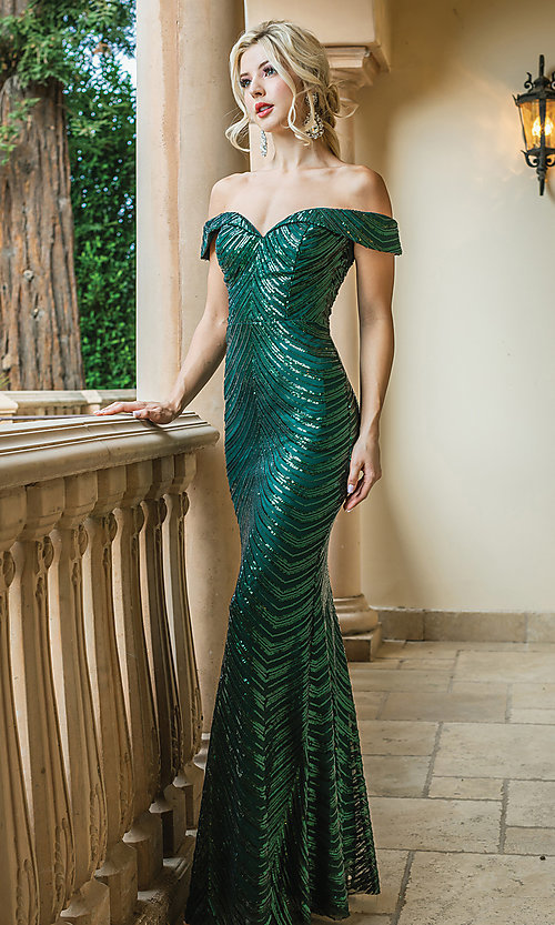 Image of long sequin formal dress with corset-style back. Style: DQ-4109 Front Image
