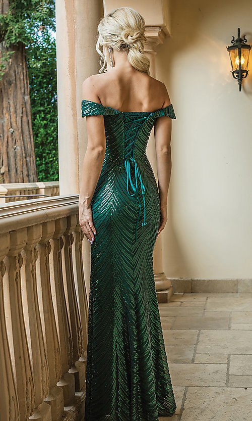 Image of long sequin formal dress with corset-style back. Style: DQ-4109 Back Image