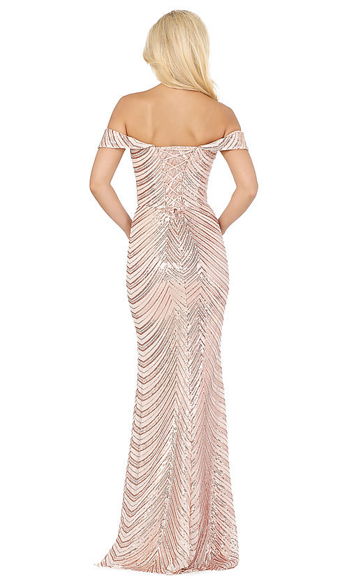 Image of long sequin formal dress with corset-style back. Style: DQ-4109 Detail Image 4