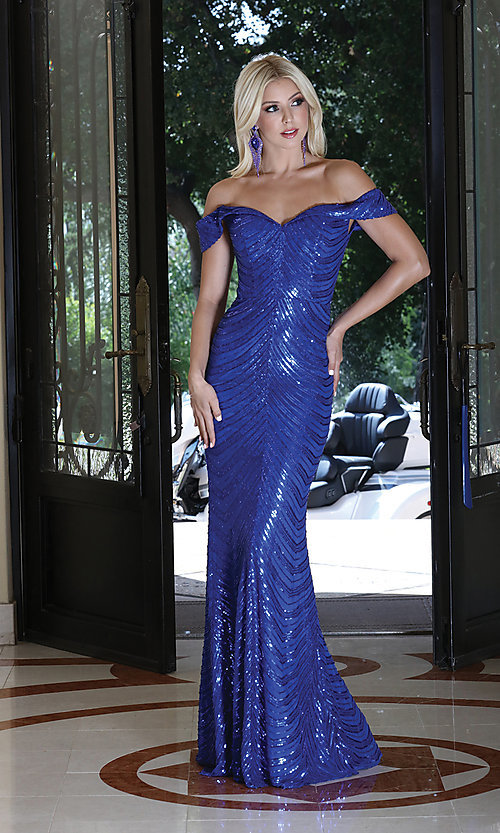 Image of long sequin formal dress with corset-style back. Style: DQ-4109 Detail Image 1