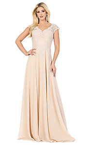 Image of long cap-sleeved formal prom dress with embroidery. Style: DQ-4122 Front Image