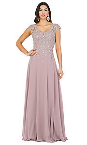 Image of long cap-sleeved formal prom dress with embroidery. Style: DQ-4122 Detail Image 1
