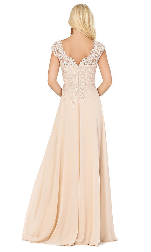 Image of long cap-sleeved formal prom dress with embroidery. Style: DQ-4122 Back Image