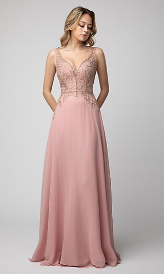 Shail K Long Prom Dress with V-Neckline