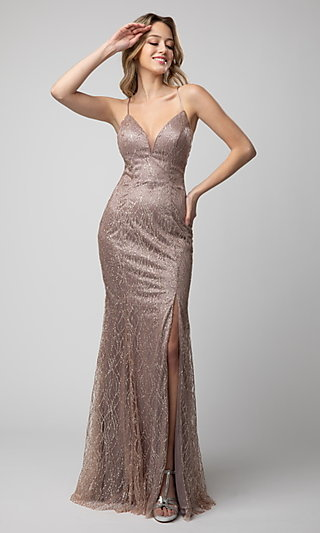 V-Neck Shail K Glitter Prom Dress