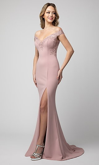 Shail K Off-the-Shoulder Prom Dress with Embroidery