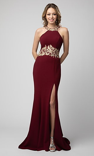 Shail K Long High-Neck Prom Dress