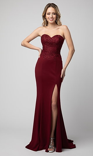 Shail K Long Strapless Sweetheart Prom Dress