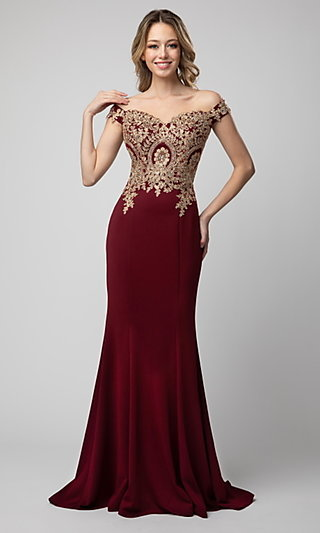 Shail K Off-the-Shoulder Long Prom Dress