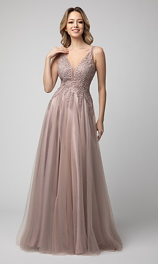 V-Neck Long Shail K Prom Dress with Tulle Skirt