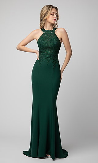 High-Neck Embroidered Long Prom Dress