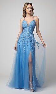 Image of long Shail K formal prom dress with corset back. Style: SK-936 Detail Image 2