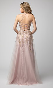 Image of long Shail K formal prom dress with corset back. Style: SK-936 Back Image