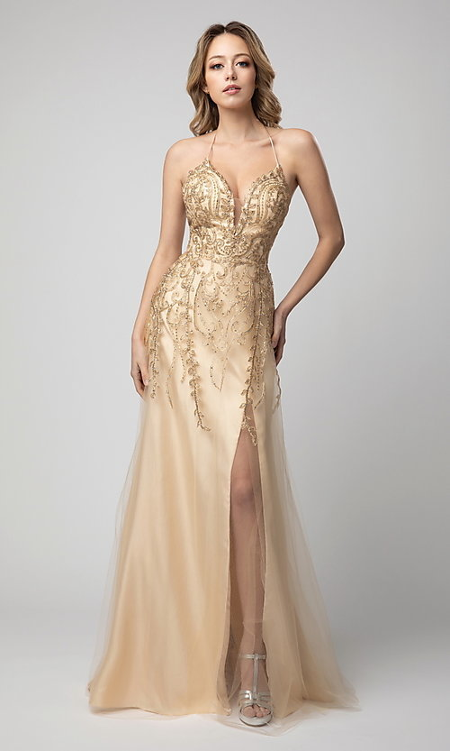 Image of long Shail K formal prom dress with corset back. Style: SK-936 Detail Image 1