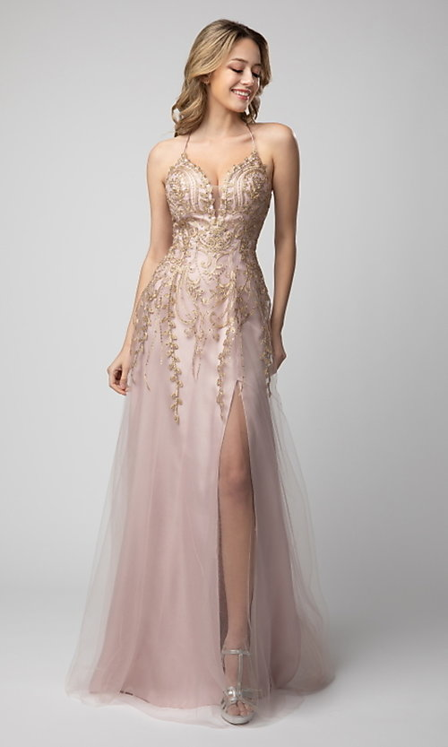 Image of long Shail K formal prom dress with corset back. Style: SK-936 Front Image