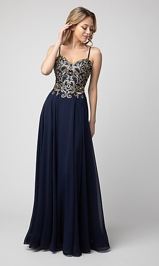 Shail K Long Prom Dress with Embroidery