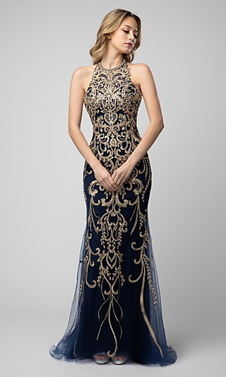 Shail K Embroidered Prom Dress with Back Cut Out