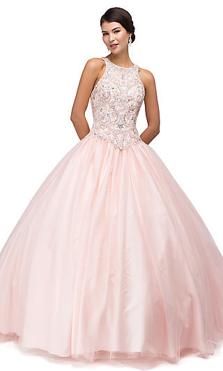 High-Neck Quinceanera Gown with Beaded Bodice