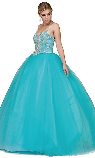 Quinceanera Long Ball Gown with Beaded Bodice