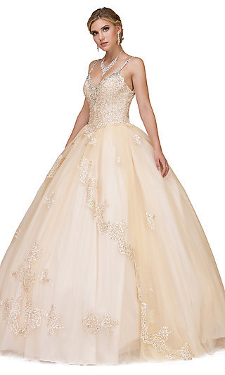 V-Neck Long Embroidered Quinceanera Gown